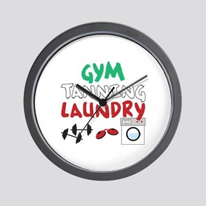 GYM TANNING LAUNDRY Wall Clock
