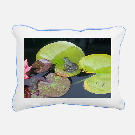 Close Up Frog on Lily Pa Rectangular Canvas Pillow