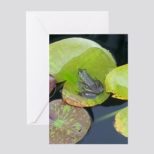 Close Up Frog on Lily Pad Greeting Card