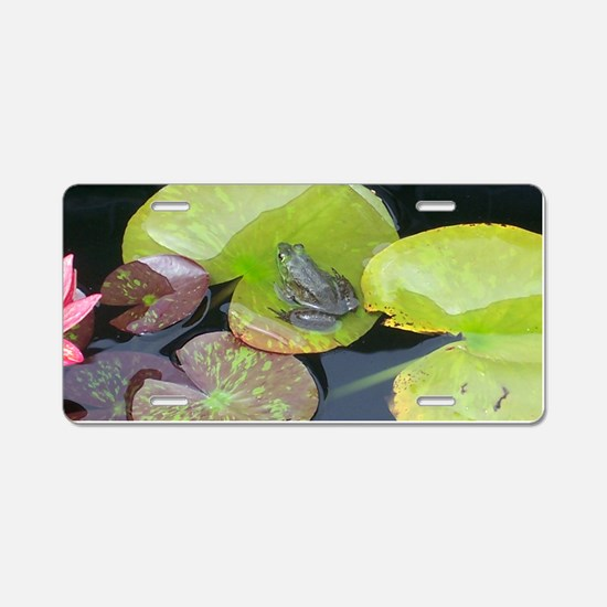 Close Up Frog on Lily Pad Aluminum License Plate
