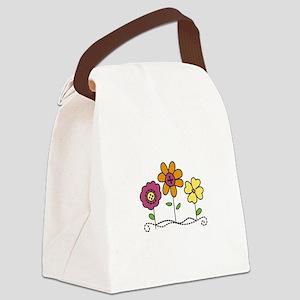 Button Flower Canvas Lunch Bag