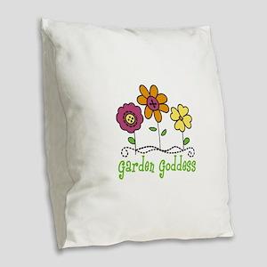 Garden Goddess Burlap Throw Pillow