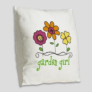 garden girl Burlap Throw Pillow