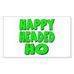 Nappy Headed Ho Green Design Rectangle Sticker