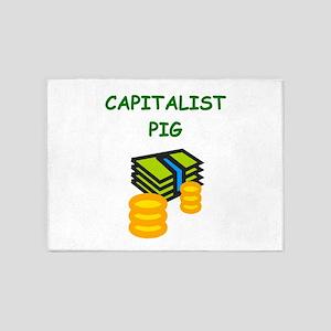 capitalist pig 5'x7'Area Rug