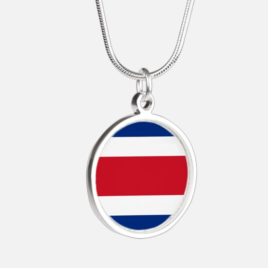 Costa Rica Flag Silver Round Necklace