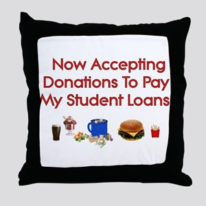 Student Loan Donations Throw Pillow