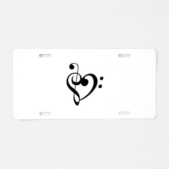 Treble Heart Aluminum License Plate