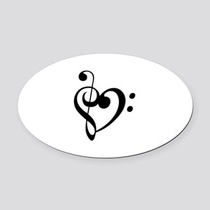 Treble Heart Oval Car Magnet