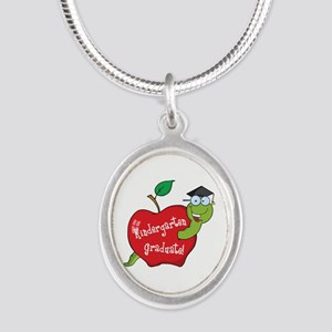 Kindergarten Graduate Silver Oval Necklace