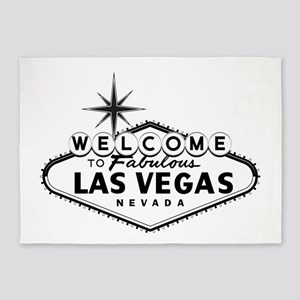 Welcome To Las Vegas Sign 5'x7'Area Rug