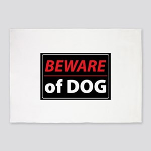 BEWARE OF DOG 5'x7'Area Rug
