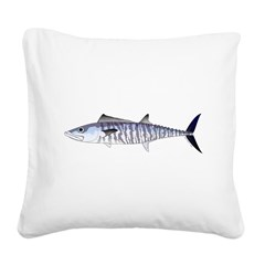 Narrow-barred Spanish Mackerel Square Canvas Pillo