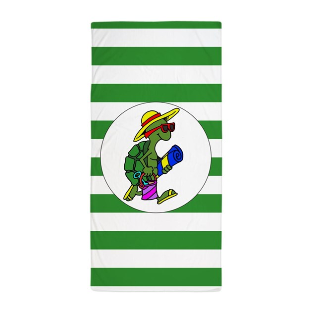 Green Stripe Cartoon Turtle Beach Towel By Funnygarden