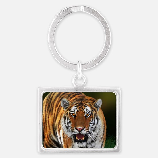 Tiger on Green Keychains