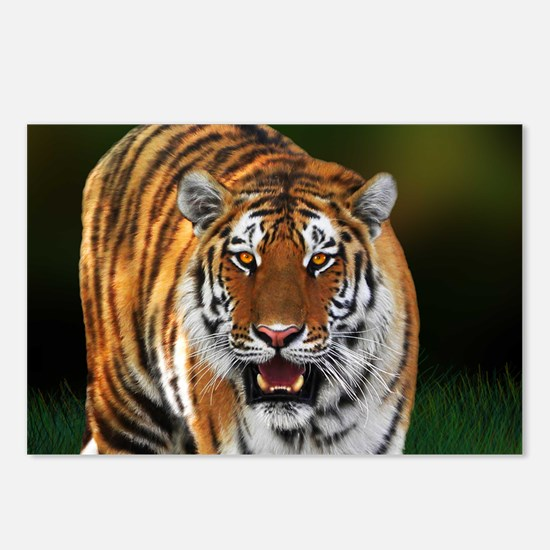 Tiger on Green Postcards (Package of 8)