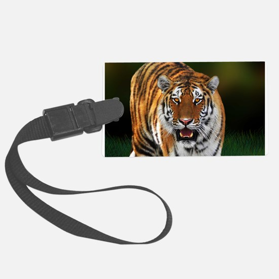 Tiger on Green Luggage Tag