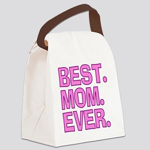 Best Mom Ever Pink Purple Canvas Lunch Bag