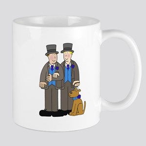 Two grooms and a dog, gay civil union or marr Mugs