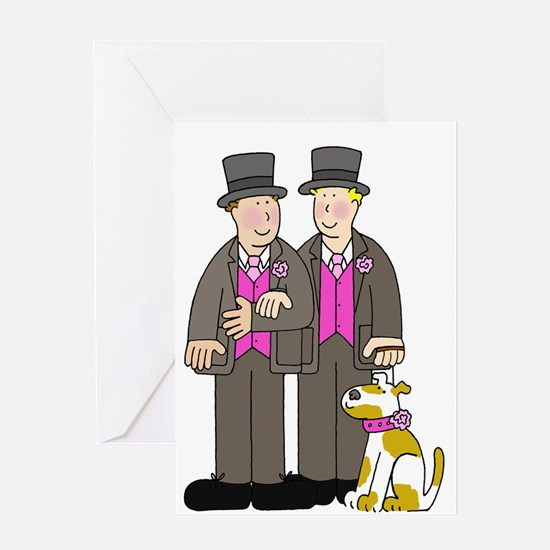 Two grooms and a dog wedding. Greeting Cards