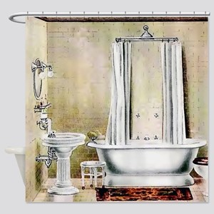 Vintage Bathroom Shower Curtain