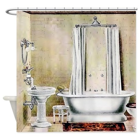 vintage bathroom shower curtain by pinkinkart 87973