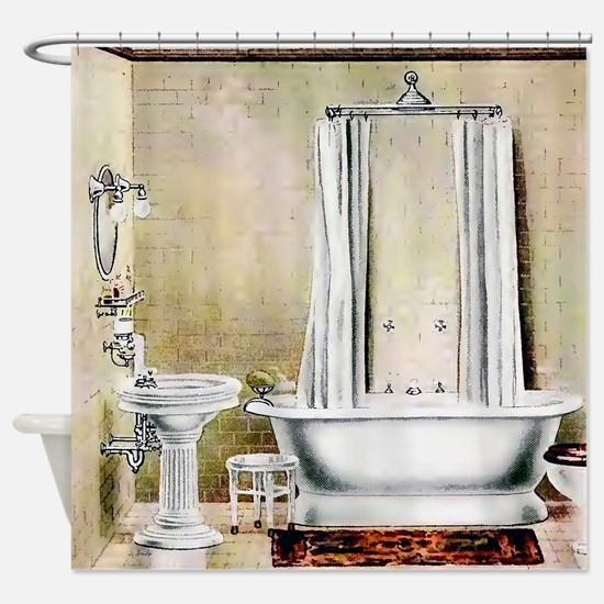 Vintage Bathroom Shower Curtain