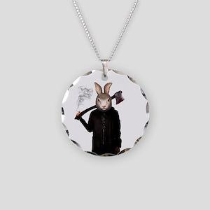Evil Rabbit Necklace Circle Charm