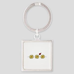 Flower Ladybug Keychains