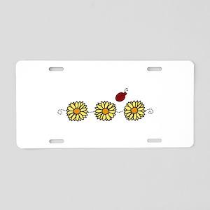 Flower Ladybug Aluminum License Plate