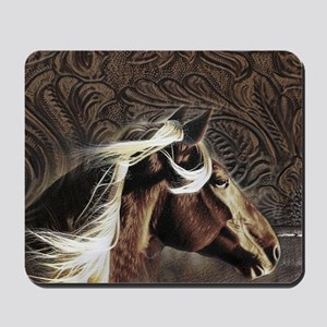 modern horse brown leather texture Mousepad