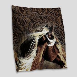modern horse brown leather texture Burlap Throw Pi