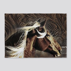 modern horse brown leather texture 5'x7'Area Rug