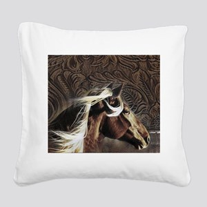 modern horse brown leather texture Square Canvas P