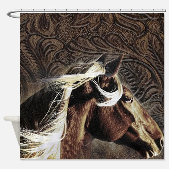 modern horse brown leather texture Shower Curtain