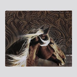 modern horse brown leather texture Throw Blanket