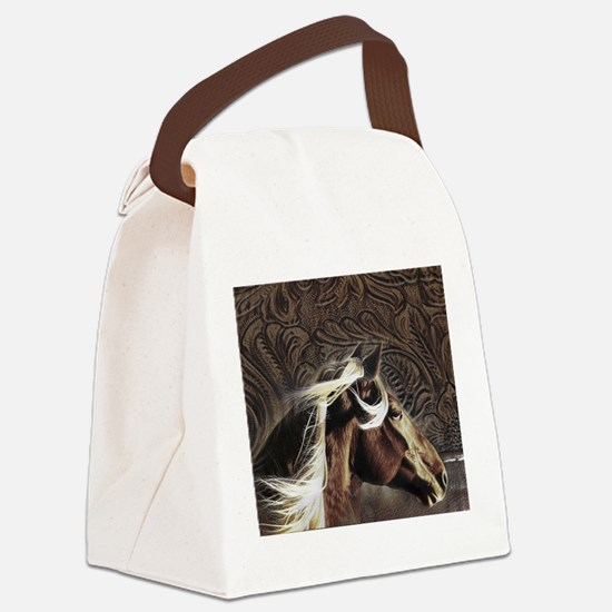modern horse brown leather texture Canvas Lunch Ba