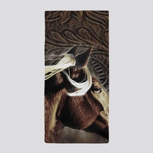 modern horse brown leather texture Beach Towel