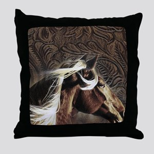 modern horse brown leather texture Throw Pillow