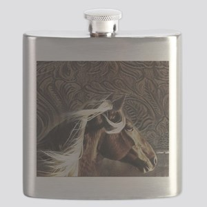 modern horse brown leather texture Flask