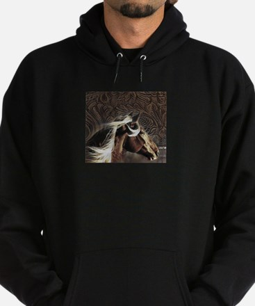 modern horse brown leather texture Hoodie