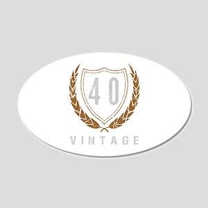 40th Birthday Laurels 20x12 Oval Wall Decal