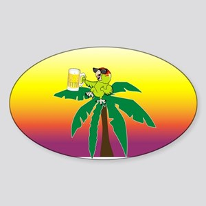 Parrot lounging with a beer Oval Sticker