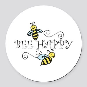 Bee Happy Round Car Magnet