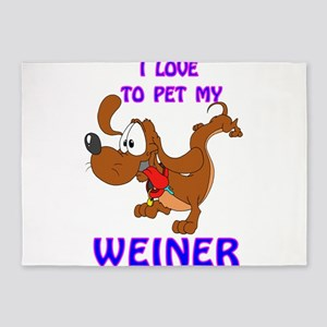 Love to Pet MY Weiner 5'x7'Area Rug