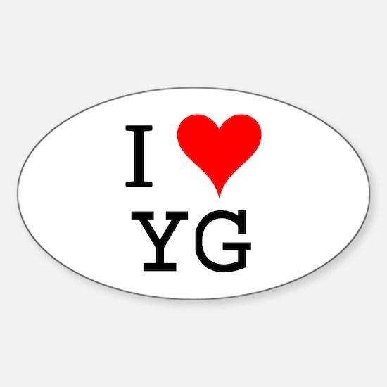 I Love YG Oval Decal