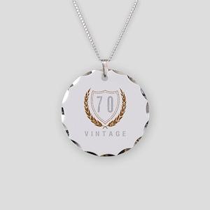 70th Birthday Laurels Necklace Circle Charm