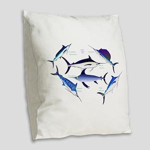 6 Billfish Burlap Throw Pillow