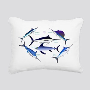 6 Billfish Rectangular Canvas Pillow