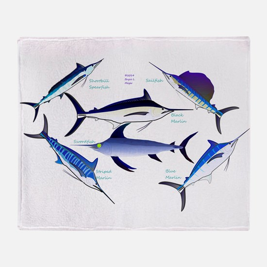 6 Billfish Throw Blanket